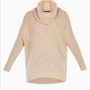 NWT BCBGMaxazria Cowl Neck Cable knit sweater